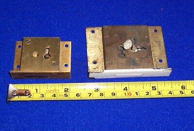 Vintage reclaimed brass furniture locks two different sizes no key