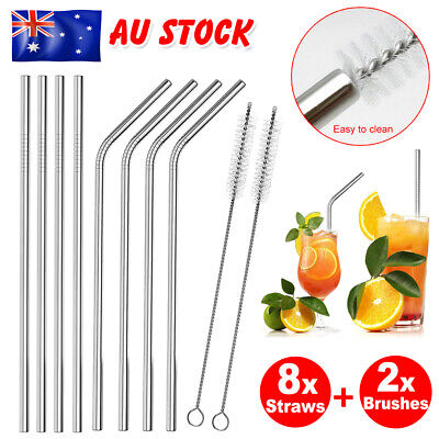 AU 8X Stainless Steel Metal Drinking Straw Reusable Straws + 2 Brush Cleaner Set