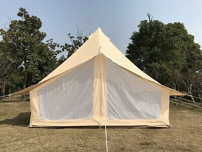 Canada Warehouse 4X3M Cotton Canvas Safari Bell Tent with Mesh Door and Window