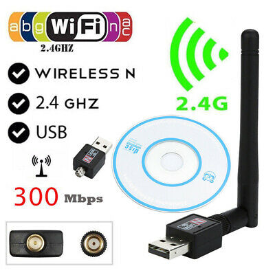 Mini、300Mbps USB WiFi adaptador inalámbrico dongle LAN Card 802.11 n/g/bw/antena