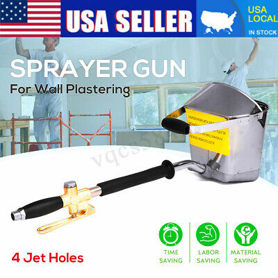 4 Jets Cement Mortar Concrete Air Stucco Sprayer Hopper Wall Plastering Gun Tool