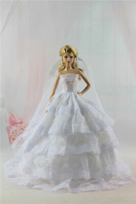 Fashion White Wedding Royalty Party Princess Dress Clothes/Gown For Barbie Doll