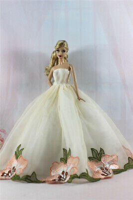 Handmade Light Yellow Royalty Party Princess Dress Clothes/Gown For Barbie Doll