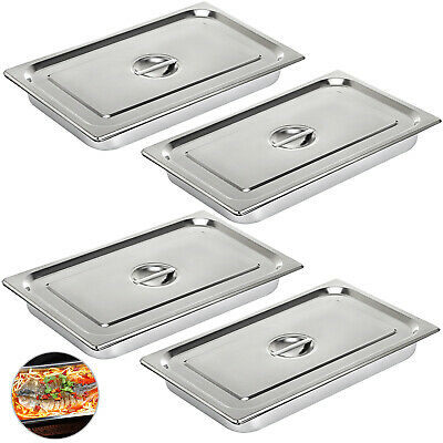 "4-Pack Full Size 4"" Deep Silver Stainless Steel Hotel Steam Table Pans"