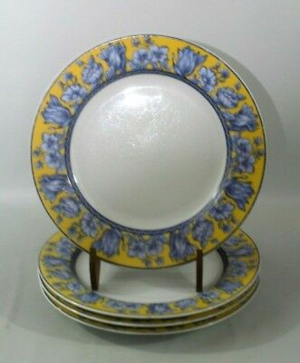 "Set of 4 Coventry ""Palace Garden"" 8"" Fine Porcelain Salad Plates Yellow Blue Rim"