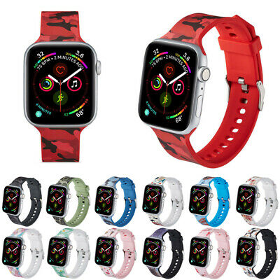 For Apple iWatch Series 5 40/44mm 4 3 2 1 Floral Sport Silicone Band Watch Strap