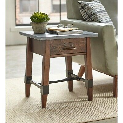 Rustic End Table Industrial Side Accent Tables Wood Metal Storage