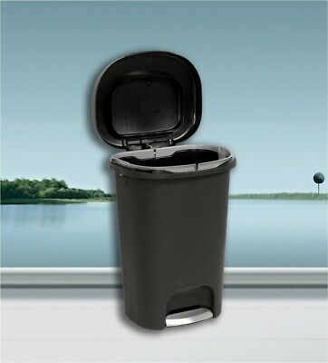 LARGE KITCHEN TRASH Can 13 Gallon Garbage Can Black Plastic ...