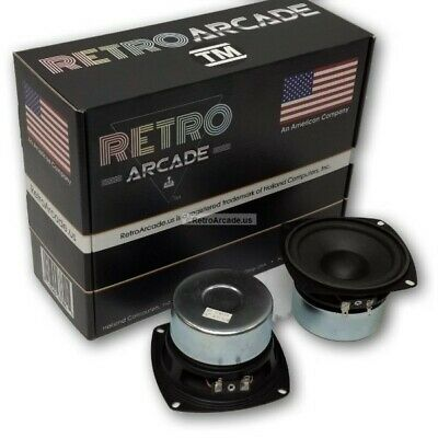 2 Pack RetroArcade.us 4 In Round woofer HiFi Stereo Jamma Speaker 30W RMS 8 ohm