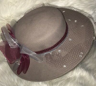 Vintage Lords Geo Bollman Doeskin Felt Wool Mushroom Wide Brim Church  Formal Hat 54eed77e5c2b