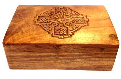 Celtic Cross Wooden Box 4x6 Wiccan Pagan Witchcraft Supply Wicca Ritual Altar