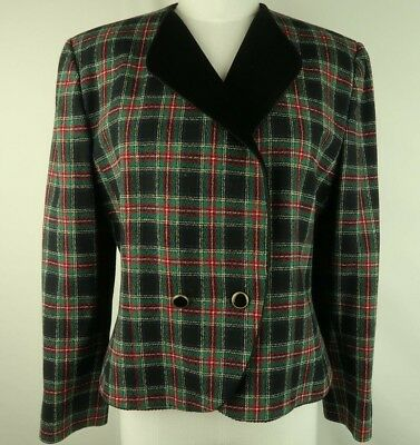 Suits & Suit Separates Pendleton Red Green Blue Plaid Wool Lined Zip Front Blazer Jacket Size 10 Ff5730
