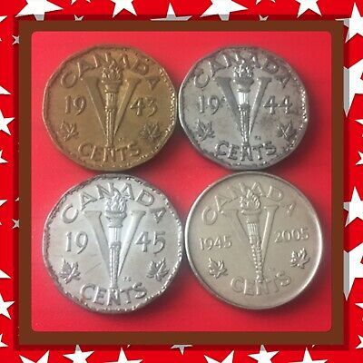 🇨🇦 1943-1944-1945-2005  Victory Nickels Canada five cents   Coins #1513 🇨🇦