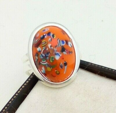 Vintage - 1950s Orange Confetti Glass Stone - Silver Plated Adjustable Ring