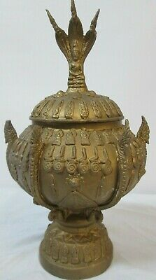 UNIQUE!  Seated Shiva Statue Metal Gold Painted Urn Incense Holder