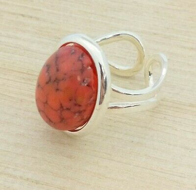 1950s CZECH Red /& Gold Confetti Glass Vintage Oval Silver Plated Cufflinks