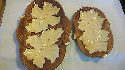 Pair of Hand Carved Wood Serving Trays, Varnished, Leaf Design