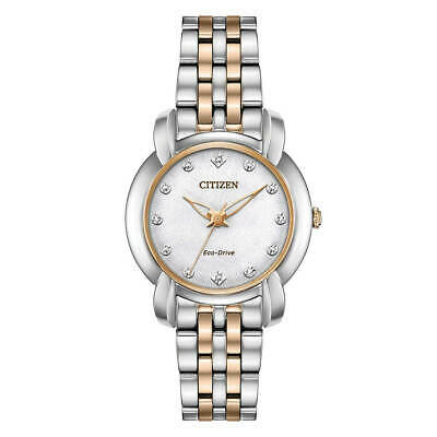 Citizen EM0716-58A Women's Jolie White Dial Two Tone Diamond Watch