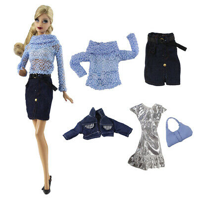 2 Sets Doll Suit Fashion Clothes for 1/6 Doll Top+Skirt and Dress+Jacket+Bag