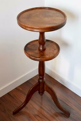 Antique French 19th Walnut Wood Gueridon Pedestal Table Plant Stand