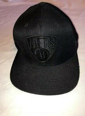 reputable site 78bf7 d6f12 Mitchell   Ness Brooklyn Nets Basketball Cap Raised Embroidered NBA Black