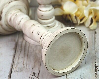 Set of 2 farmhouse distressed antique white & brown wooden pillar candle holders