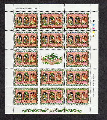 IRELAND #703a  1987   CHRISTMAS   MINT  VF NH  O.G SHEET W/CENTER LABEL   a