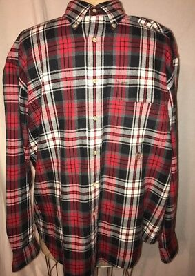 5a8eaaba Tommy Hilfiger Button Down Long Sleeve Flannel Shirt Red Plaid Men's Large  EUC