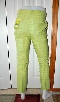 Mens New VTG Stock 1960s 60s WALDORF Plaid Lime Green Pants size 32x29 NOS
