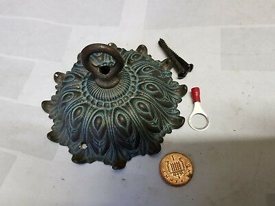ANTIQUE CEILING ROSE 103mm French chandelier hook cast bronze c1920  verdigris