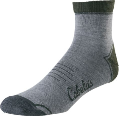 CABELAS Mens Insect Defense System Gray Low Cut SOCKS XL (Shoe Sizes 13-15) NWT
