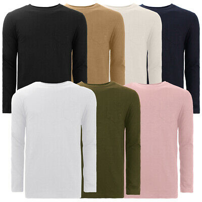 Mens Brave Soul Long Sleeve Top Crew Neck T-Shirt Cotton
