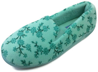 ecf13be1614 Moonbeams Mint Green Floral Micro Terry Slippers for Women Spring Foam  Cushion