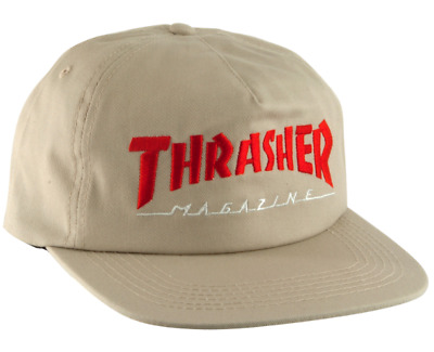 THRASHER Skateboard Magazine Two Tone Mag Logo Tan   Red Snapback Hat a07d191eb354