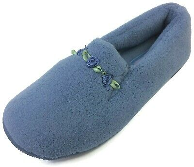 Moonbeams Blue Rosette Micro Terry Slippers for Women Spring Foam Cushioning