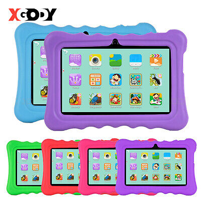 "XGODY Android 4.4 7"" Inch Tablet PC For Kid 8GB 4-Core 2xCam HD WiFi Bundle Case"