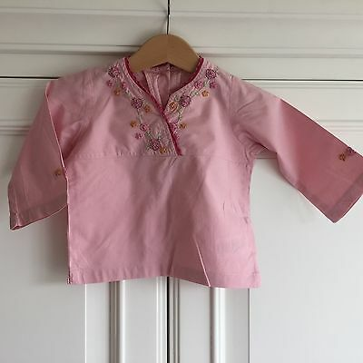 Mothercare, 6 - 9 month Girls pink shirt, embroidery, cotton, long sleeve