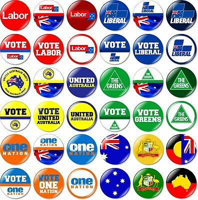 1 x Australian Federal Election 32mm BUTTON PIN BADGE 2019 Australia Party Vote