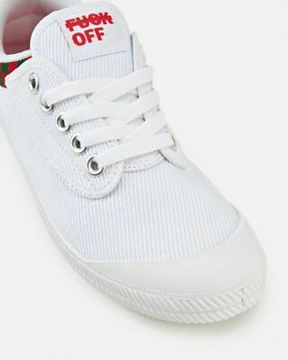 F**K OFF DUNLOP VOLLEYS International Volley Canvas Mens Shoes White Green Red