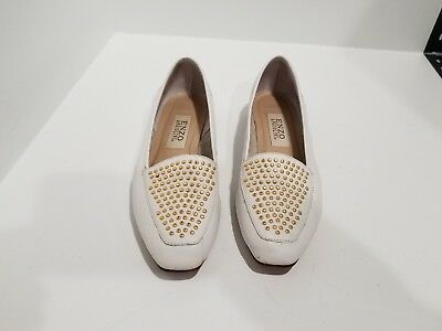 db84d828eea ENZO ANGIOLINI WOMENS White Leather Gold Studded Loafers Slip On ...