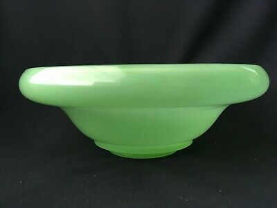 """Jade Green Clambroth Glass Console Bowl Vintage Art Deco 10.5"""" x 3"""" Unmarked"""