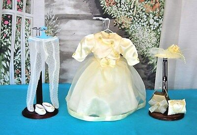 Vintage Style 1950's Doll  Clothes YELLOW DRESS & HAT & Access for 16""