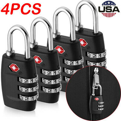 4PCS TSA Approved Luggage Lock Travel 3 Digit Combination Suitcase Padlock Reset