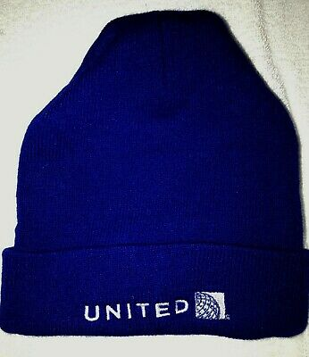 f2cec626f MENS BLUE UNITED dark blue KNIT BEANIE winter hat ONE SIZE FITS MOST super  cond!