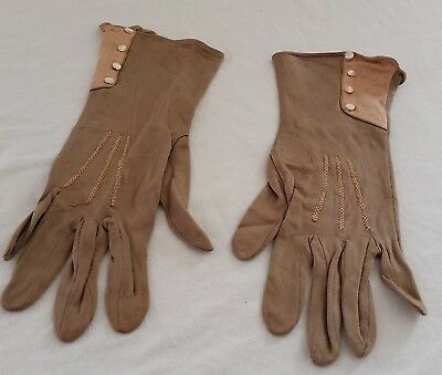 Antique Vintage 20s Beige Pink ART DECO Pearlescent Button Ladies Day GLOVES