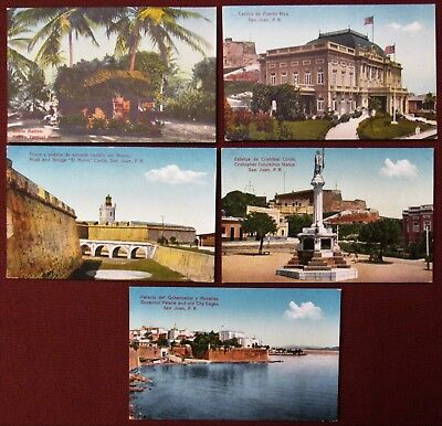 Lot of Five (5) 1910-20s PUERTO RICO View Postcards Published by Gonzalez Padin