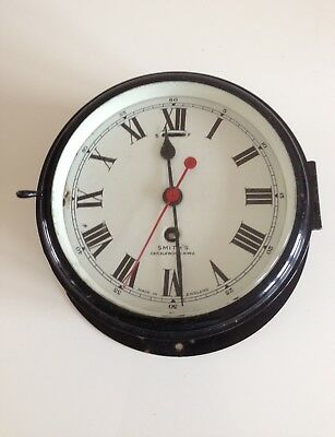 Vintage Smiths Ships Bulkhead Wall Clock, Brass and Enamel