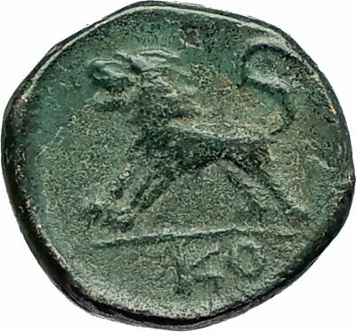 KOMANA in PISIDIA Authentic Ancient 100BC RARE Greek Coin w ZEUS & LION i76092