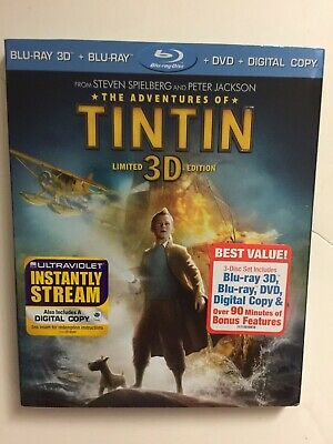 The Adventures of Tintin 3D (Blu-ray/DVD, 2012, 3-Disc) NEW w/slipcover