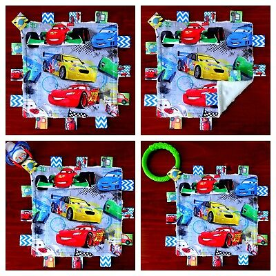Disney Cars Mini Size TaGgie Taggy Tag Blanket Toy comforter Dummy clip Holder